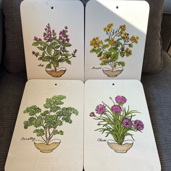 Vtg 4x wood plaques of sage/mustard/parsley/chives